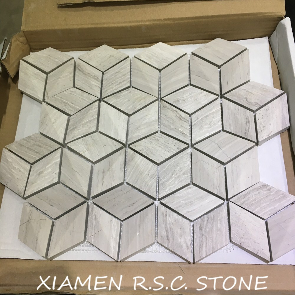 White Wooden Vein Marble Hexagon Shape Stereoscopic Mosaic White Wooden Vein Marble Hexagon Shape Stereoscopic Mosaic