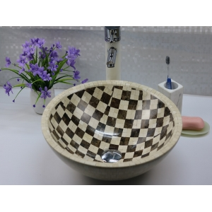 Marble mosaic bathroom sink and basin