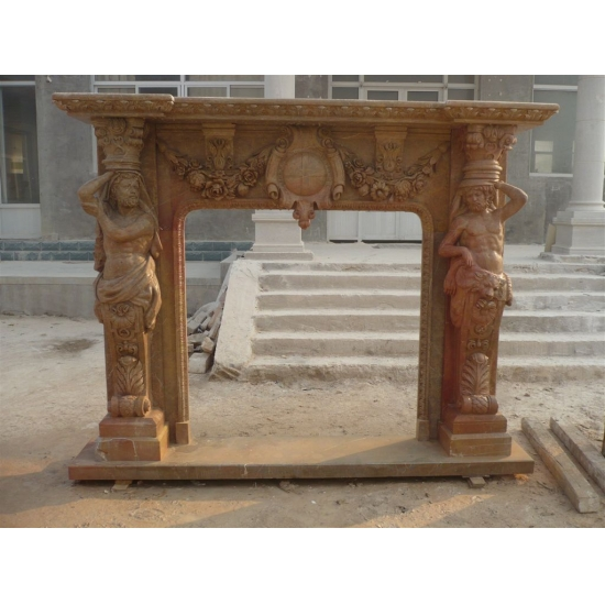 Gelber Marmor Dekorative Kamin Kaminsimses Mit Schnitzerei